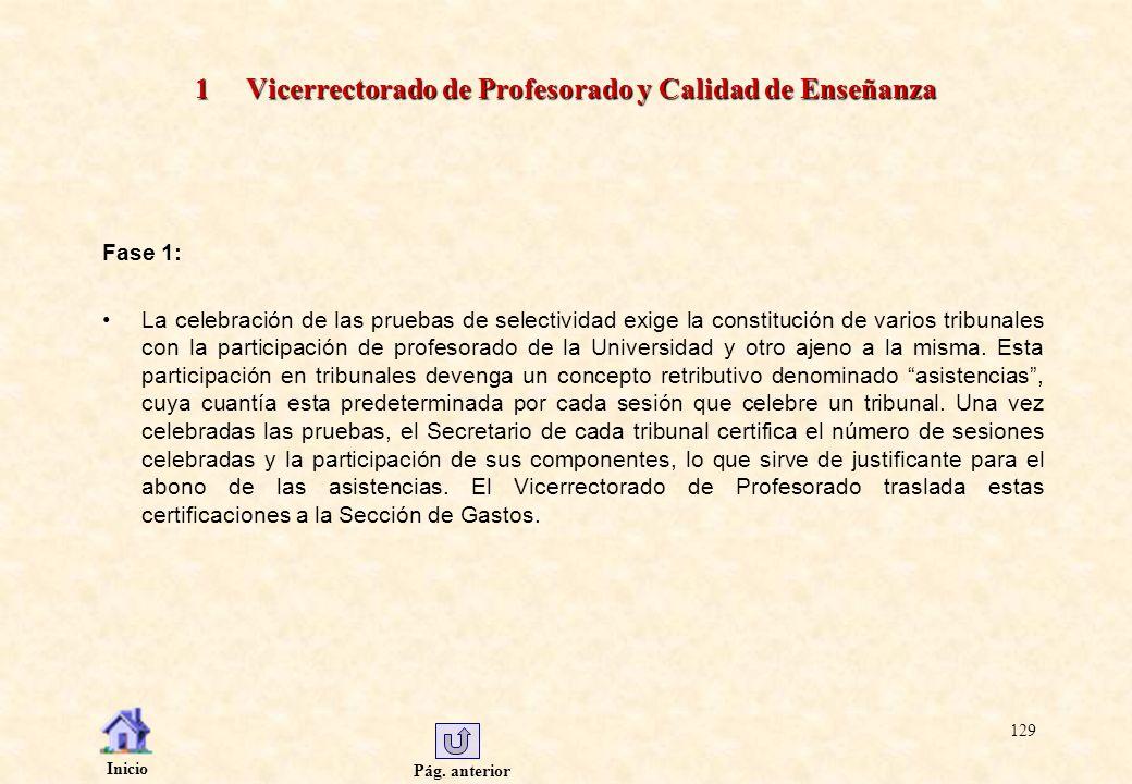 Pág. anterior Inicio 129 1 Vicerrectorado de Profesorado y Calidad de Enseñanza Fase 1: La celebración de las pruebas de selectividad exige la constit