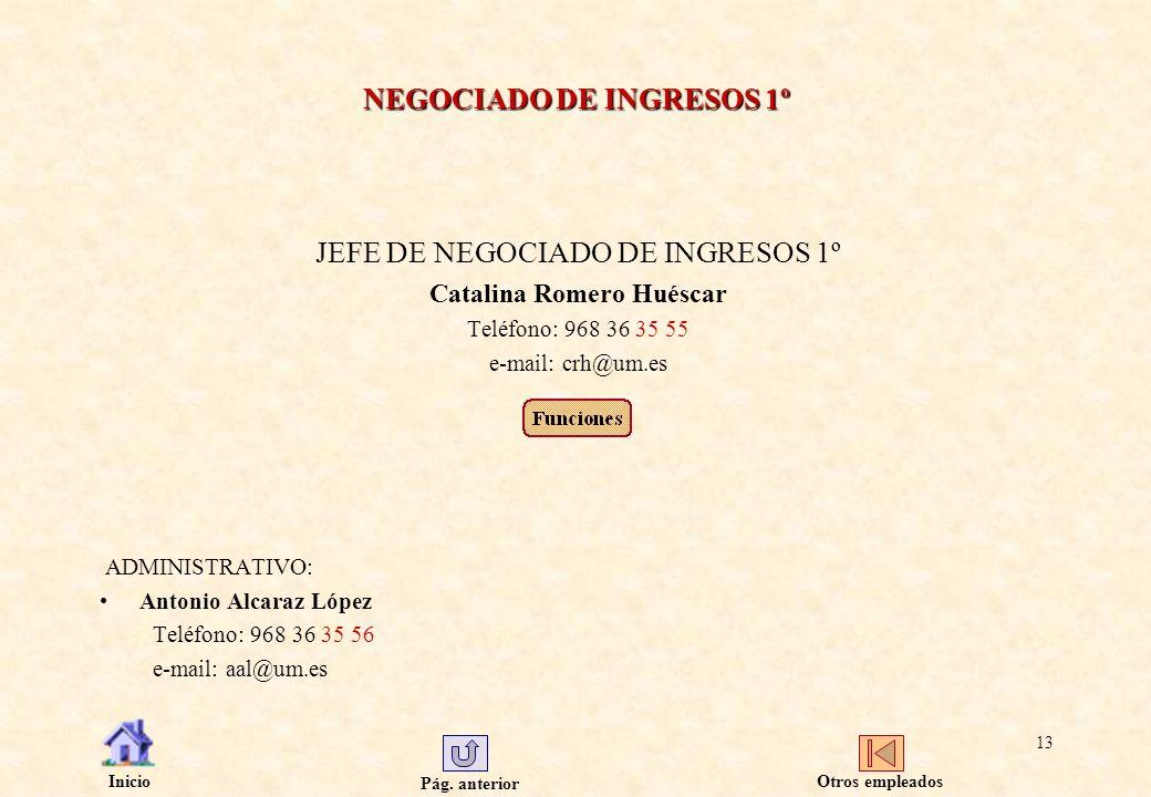 Pág. anterior Inicio 13 NEGOCIADO DE INGRESOS 1º JEFE DE NEGOCIADO DE INGRESOS 1º Catalina Romero Huéscar Teléfono: 968 36 35 55 e-mail: crh@um.es ADM