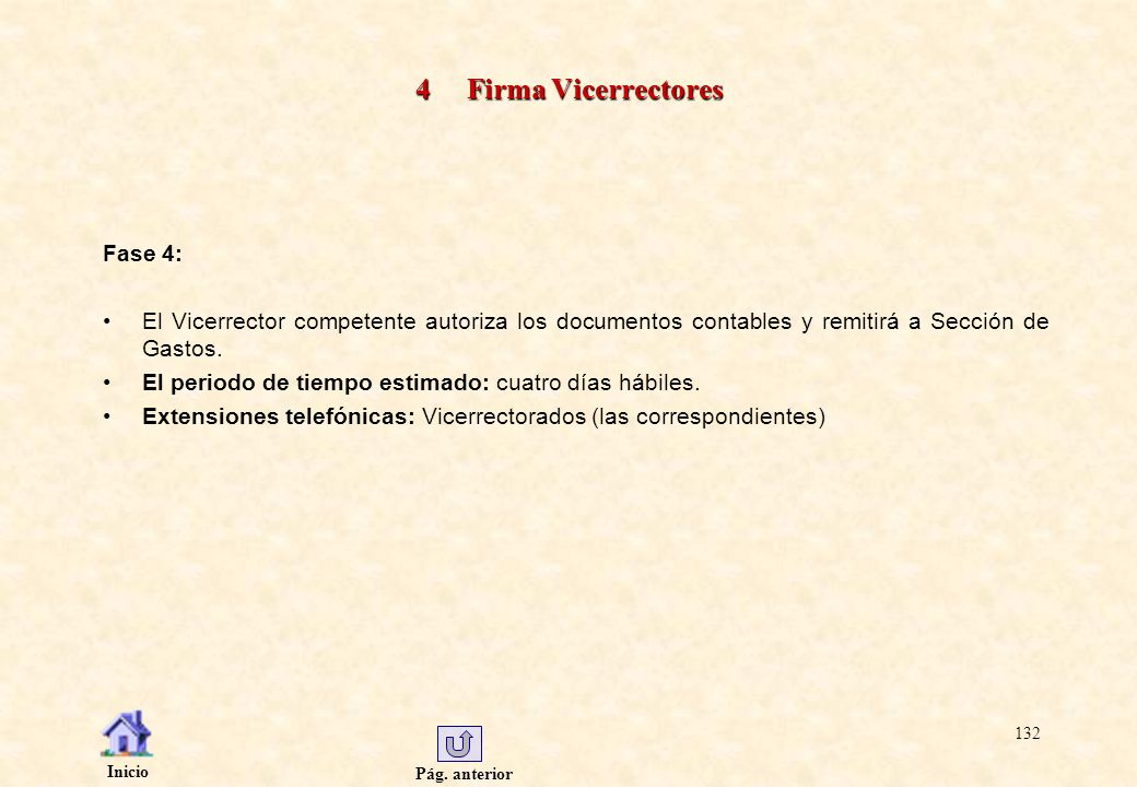 Pág. anterior Inicio 132 4 Firma Vicerrectores Fase 4: El Vicerrector competente autoriza los documentos contables y remitirá a Sección de Gastos. El