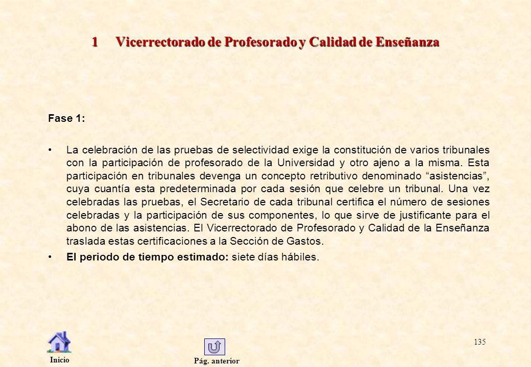 Pág. anterior Inicio 135 1 Vicerrectorado de Profesorado y Calidad de Enseñanza Fase 1: La celebración de las pruebas de selectividad exige la constit