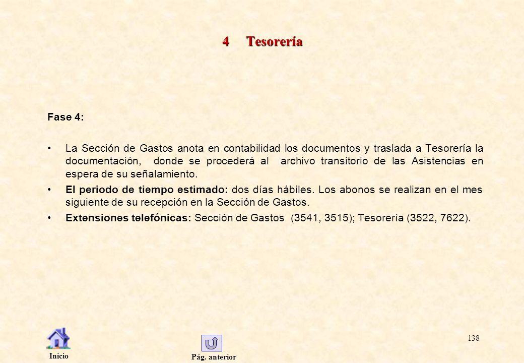 Pág. anterior Inicio 138 4 Tesorería Fase 4: La Sección de Gastos anota en contabilidad los documentos y traslada a Tesorería la documentación, donde