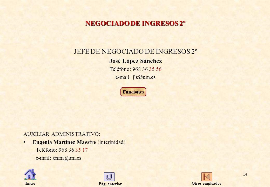 Pág. anterior Inicio 14 NEGOCIADO DE INGRESOS 2º JEFE DE NEGOCIADO DE INGRESOS 2º José López Sánchez Teléfono: 968 36 35 56 e-mail: jls@um.es AUXILIAR