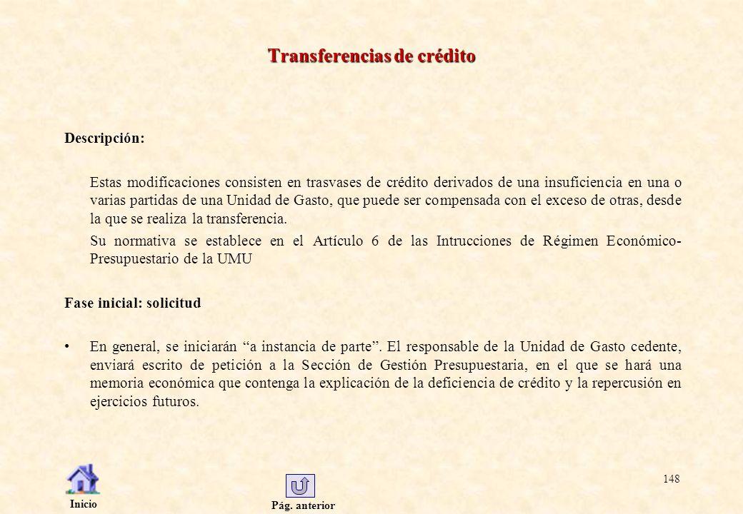 Pág. anterior Inicio 148 Transferencias de crédito Descripción: Estas modificaciones consisten en trasvases de crédito derivados de una insuficiencia
