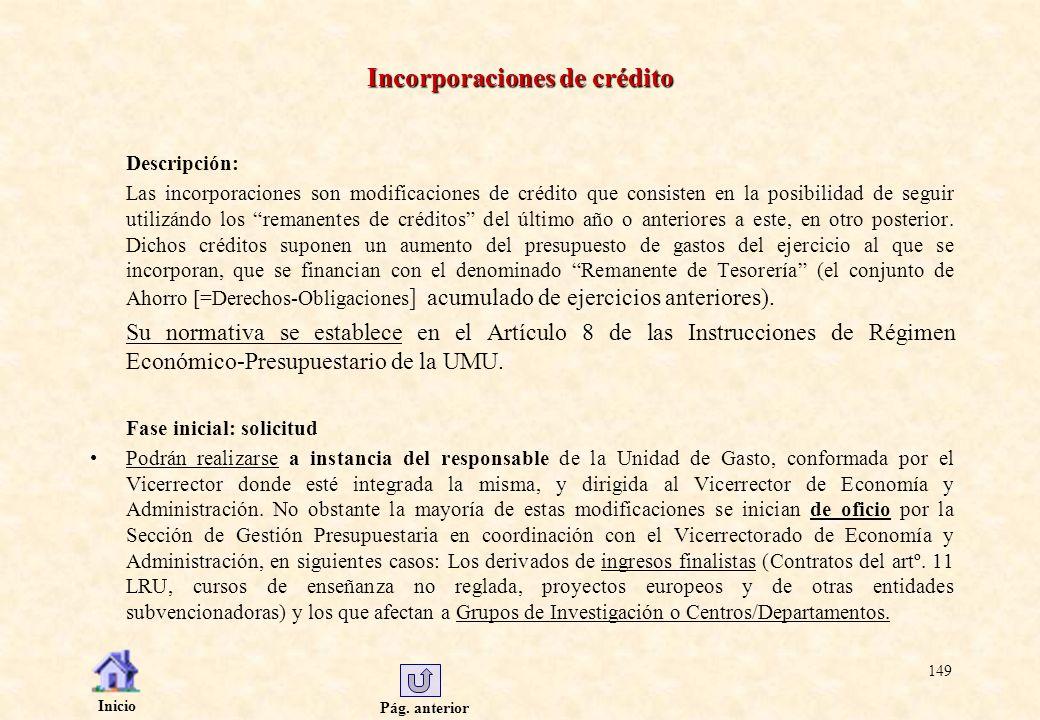 Pág. anterior Inicio 149 Incorporaciones de crédito Descripción: Las incorporaciones son modificaciones de crédito que consisten en la posibilidad de
