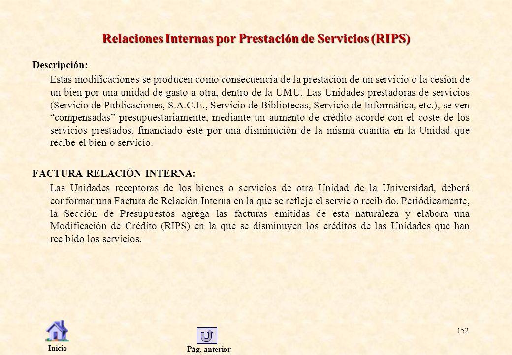 Pág. anterior Inicio 152 Relaciones Internas por Prestación de Servicios (RIPS) Descripción: Estas modificaciones se producen como consecuencia de la