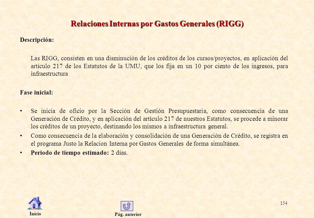 Pág. anterior Inicio 154 Relaciones Internas por Gastos Generales (RIGG) Descripción: Las RIGG, consisten en una disminución de los créditos de los cu