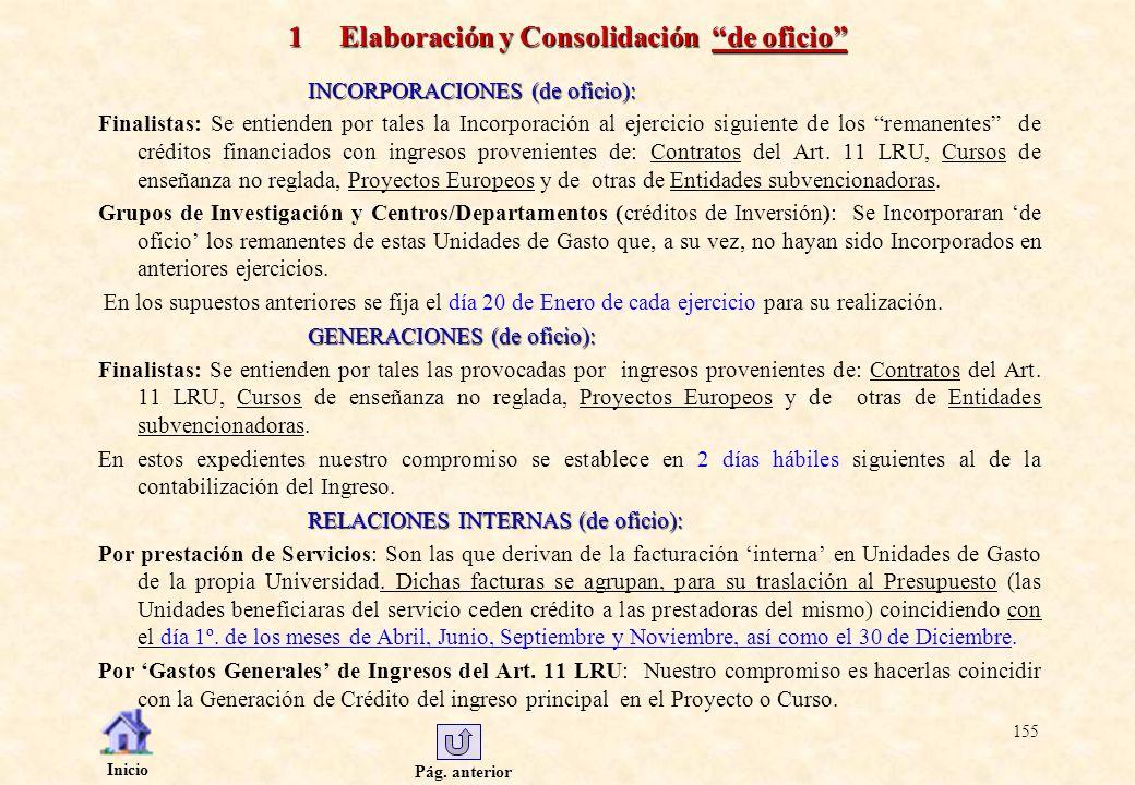 Pág. anterior Inicio 155 1 Elaboración y Consolidación de oficio INCORPORACIONES (de oficio): Finalistas: Se entienden por tales la Incorporación al e