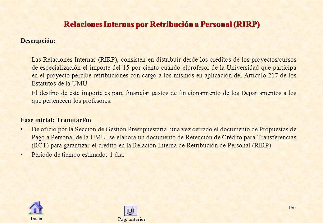 Pág. anterior Inicio 160 Relaciones Internas por Retribución a Personal (RIRP) Descripción: Las Relaciones Internas (RIRP), consisten en distribuir de