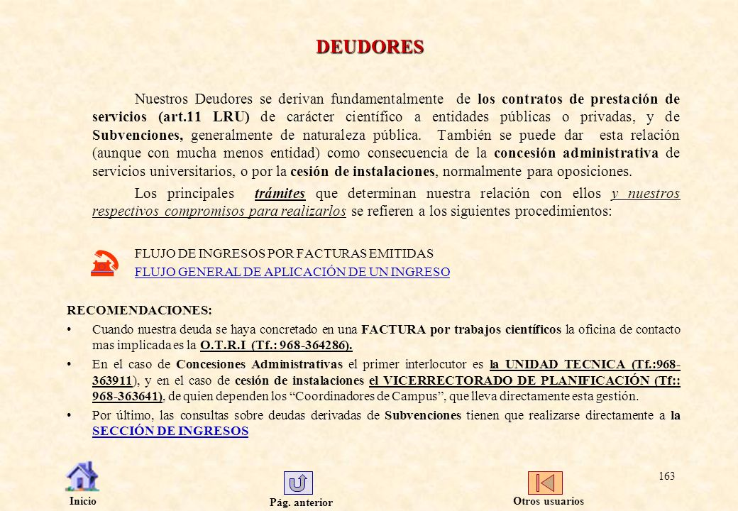 Pág. anterior Inicio 163 DEUDORES Nuestros Deudores se derivan fundamentalmente de los contratos de prestación de servicios (art.11 LRU) de carácter c