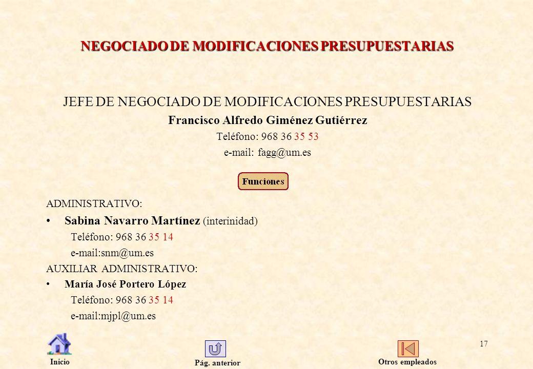 Pág. anterior Inicio 17 NEGOCIADO DE MODIFICACIONES PRESUPUESTARIAS JEFE DE NEGOCIADO DE MODIFICACIONES PRESUPUESTARIAS Francisco Alfredo Giménez Guti