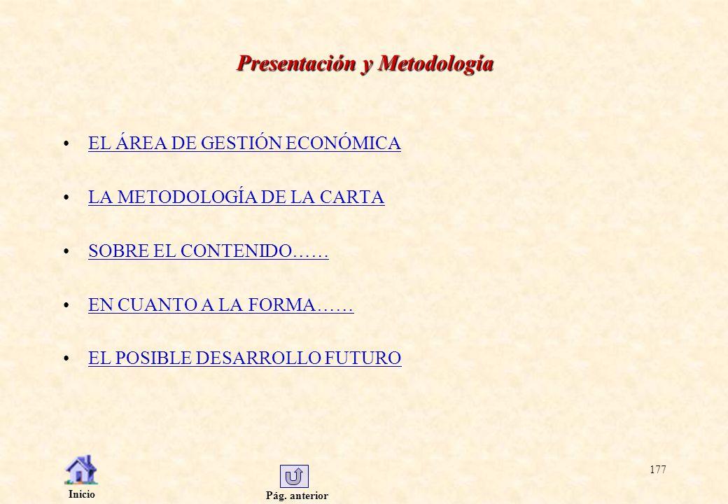 Pág. anterior Inicio 177 Presentación y Metodología EL ÁREA DE GESTIÓN ECONÓMICA LA METODOLOGÍA DE LA CARTA SOBRE EL CONTENIDO…… EN CUANTO A LA FORMA…