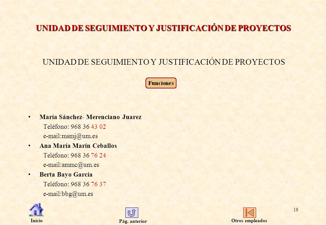Pág. anterior Inicio 18 UNIDAD DE SEGUIMIENTO Y JUSTIFICACIÓN DE PROYECTOS María Sánchez- Merenciano Juarez Teléfono: 968 36 43 02 e-mail:msmj@um.es A