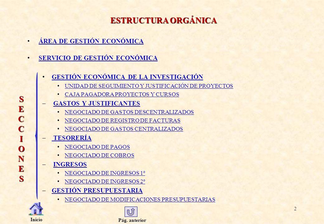 Pág. anterior Inicio 2 ESTRUCTURA ORGÁNICA ESTRUCTURA ORGÁNICA ÁREA DE GESTIÓN ECONÓMICA SERVICIO DE GESTIÓN ECONÓMICA GESTIÓN ECONÓMICA DE LA INVESTI