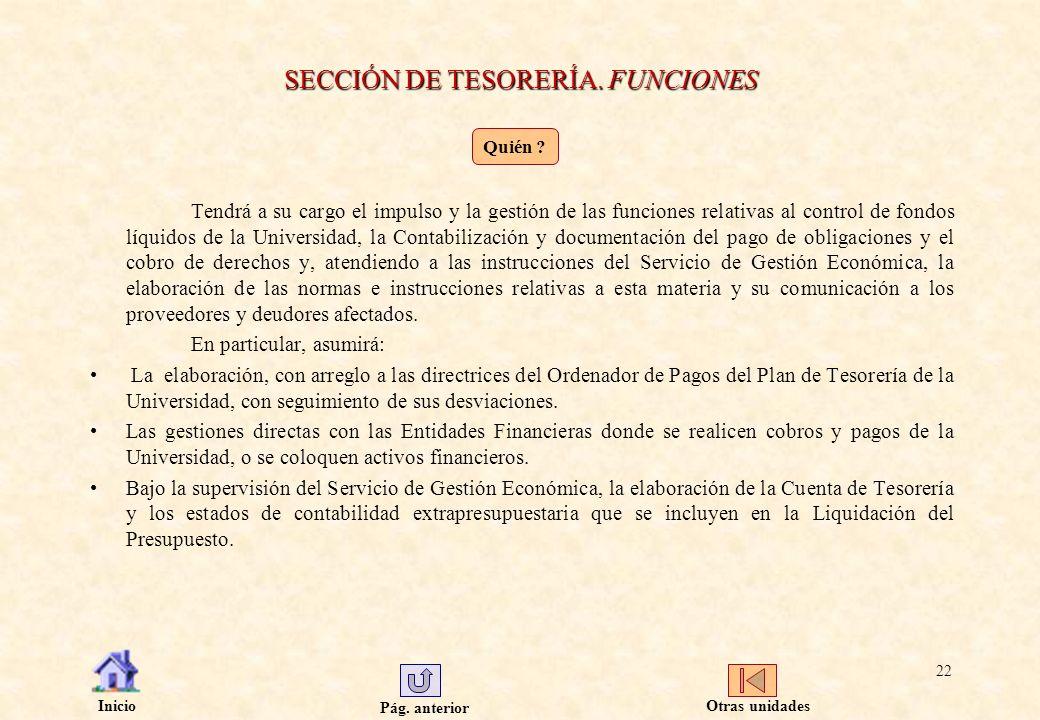 Pág. anterior Inicio 22 SECCIÓN DE TESORERÍA. FUNCIONES Tendrá a su cargo el impulso y la gestión de las funciones relativas al control de fondos líqu
