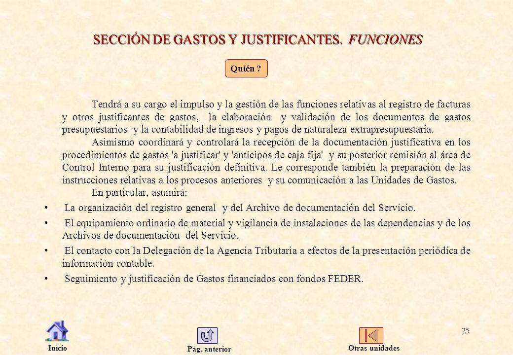 Pág. anterior Inicio 25 SECCIÓN DE GASTOS Y JUSTIFICANTES. FUNCIONES Tendrá a su cargo el impulso y la gestión de las funciones relativas al registro