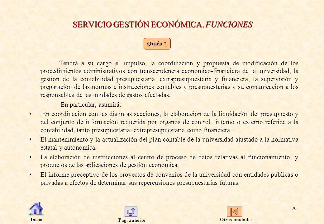 Pág. anterior Inicio 29 SERVICIO GESTIÓN ECONÓMICA. FUNCIONES Tendrá a su cargo el impulso, la coordinación y propuesta de modificación de los procedi