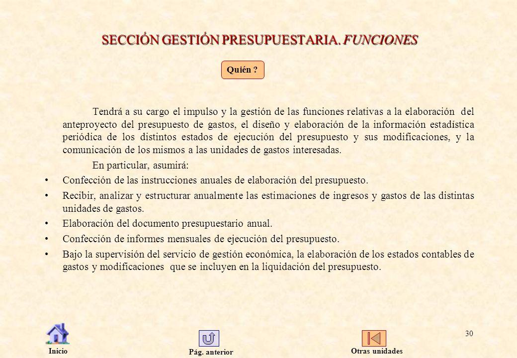 Pág. anterior Inicio 30 SECCIÓN GESTIÓN PRESUPUESTARIA. FUNCIONES Tendrá a su cargo el impulso y la gestión de las funciones relativas a la elaboració