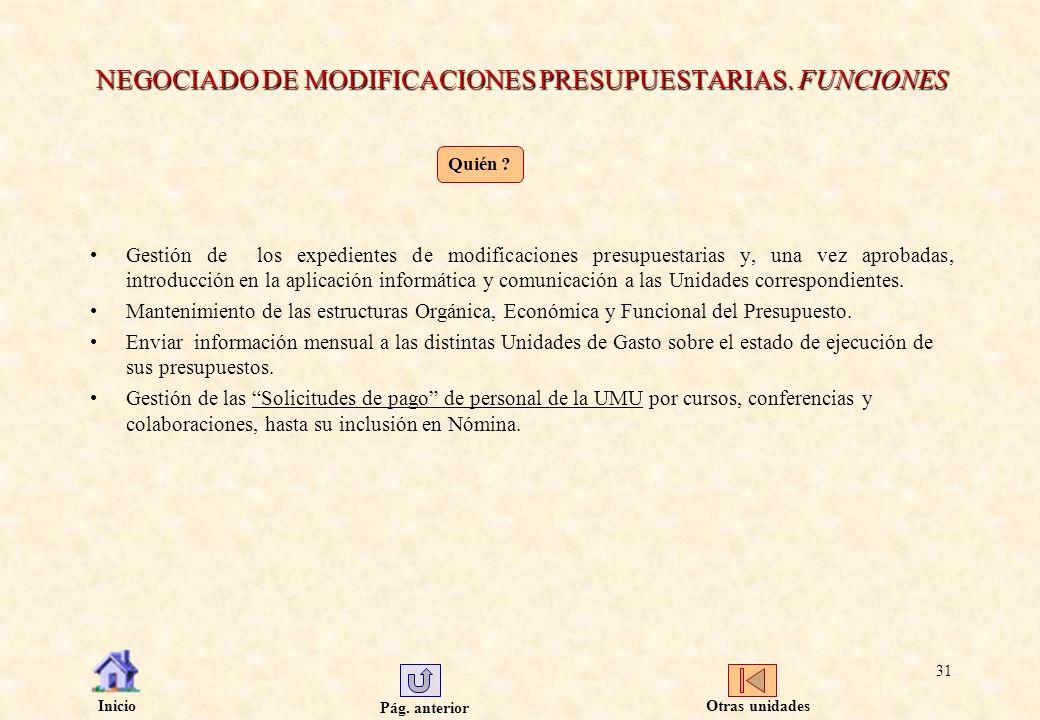 Pág. anterior Inicio 31 NEGOCIADO DE MODIFICACIONES PRESUPUESTARIAS. FUNCIONES Gestión de los expedientes de modificaciones presupuestarias y, una vez