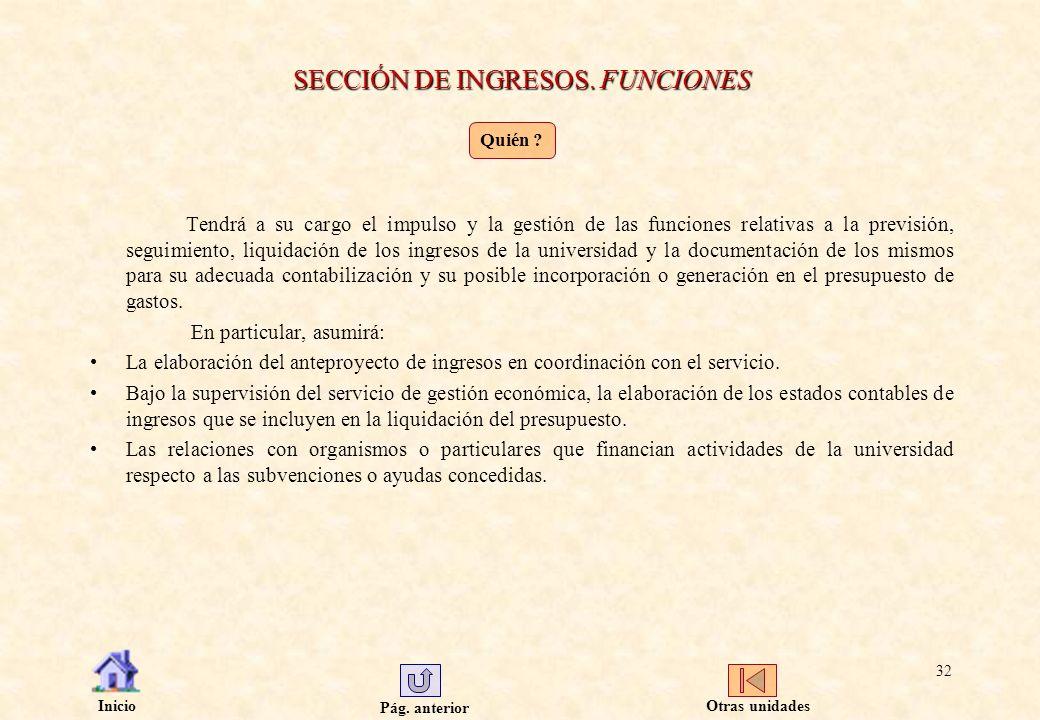 Pág. anterior Inicio 32 SECCIÓN DE INGRESOS. FUNCIONES Tendrá a su cargo el impulso y la gestión de las funciones relativas a la previsión, seguimient