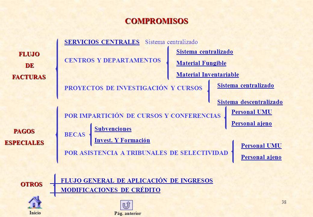 Pág. anterior Inicio 38 COMPROMISOS SERVICIOS CENTRALESSERVICIOS CENTRALES Sistema centralizado CENTROS Y DEPARTAMENTOS PROYECTOS DE INVESTIGACIÓN Y C