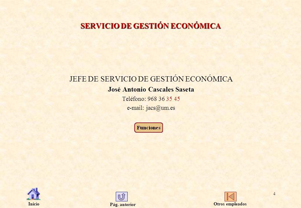 Pág. anterior Inicio 4 SERVICIO DE GESTIÓN ECONÓMICA JEFE DE SERVICIO DE GESTIÓN ECONÓMICA José Antonio Cascales Saseta Teléfono: 968 36 35 45 e-mail: