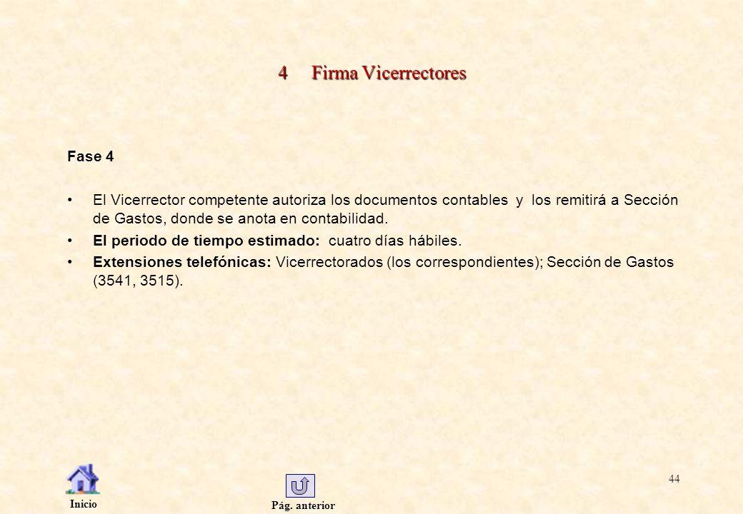 Pág. anterior Inicio 44 4 Firma Vicerrectores Fase 4 El Vicerrector competente autoriza los documentos contables y los remitirá a Sección de Gastos, d