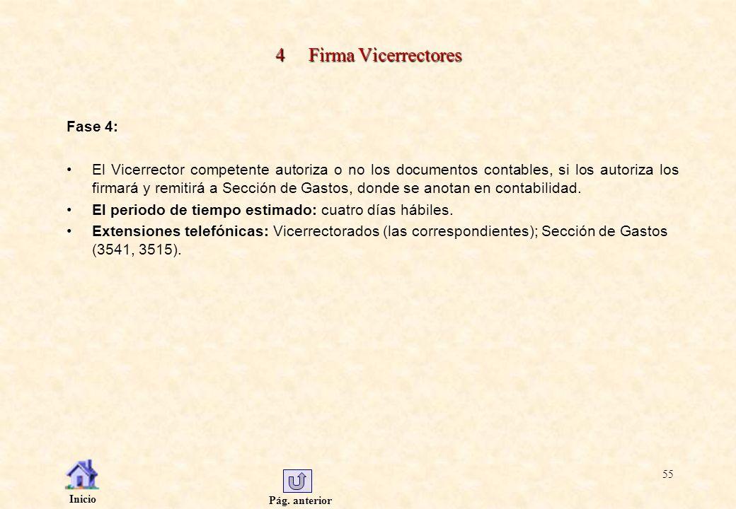 Pág. anterior Inicio 55 4 Firma Vicerrectores Fase 4: El Vicerrector competente autoriza o no los documentos contables, si los autoriza los firmará y