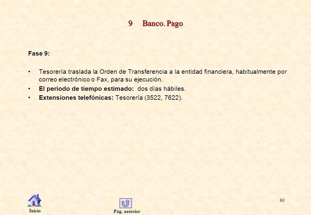 Pág. anterior Inicio 60 9 Banco. Pago Fase 9: Tesorería traslada la Orden de Transferencia a la entidad financiera, habitualmente por correo electróni