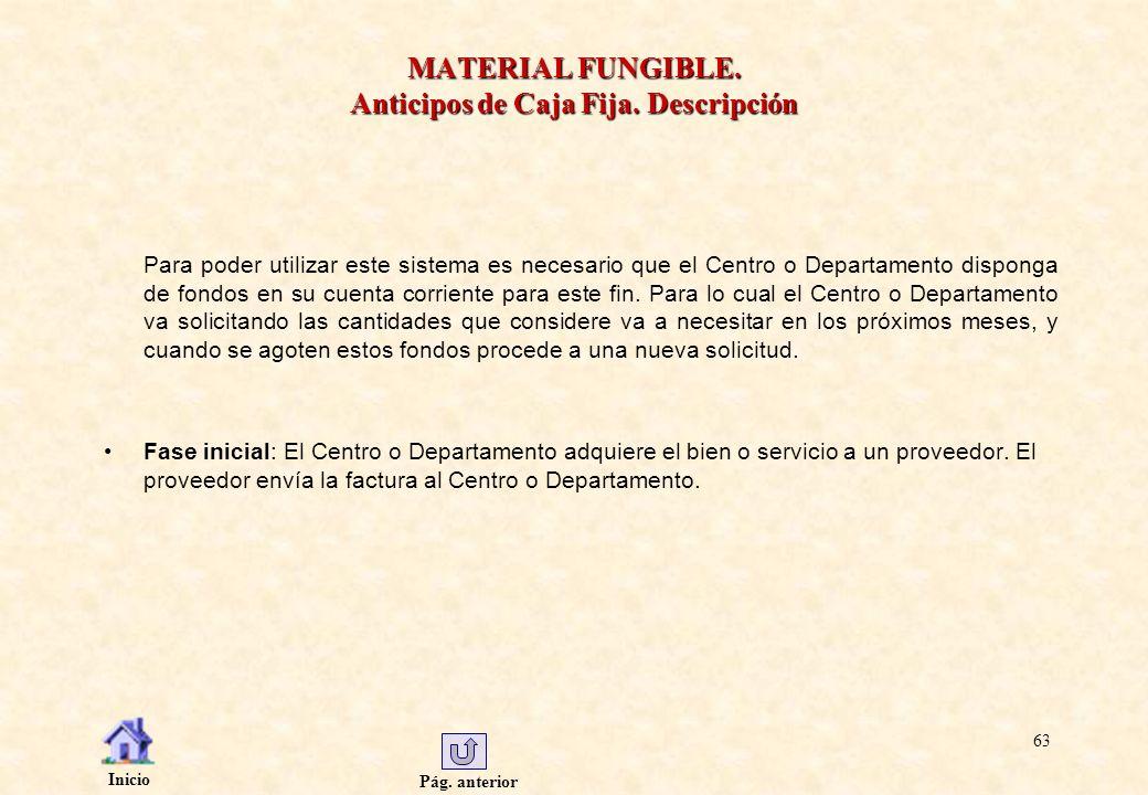 Pág. anterior Inicio 63 MATERIAL FUNGIBLE. Anticipos de Caja Fija. Descripción Para poder utilizar este sistema es necesario que el Centro o Departame
