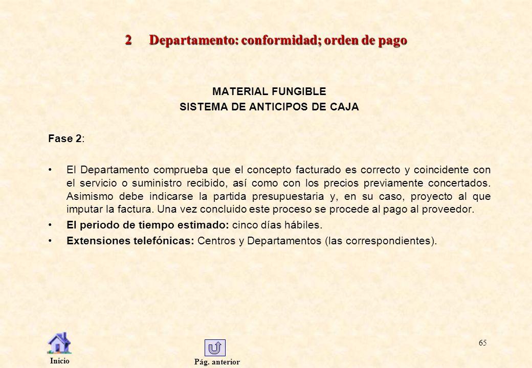 Pág. anterior Inicio 65 2 Departamento: conformidad; orden de pago MATERIAL FUNGIBLE SISTEMA DE ANTICIPOS DE CAJA Fase 2: El Departamento comprueba qu