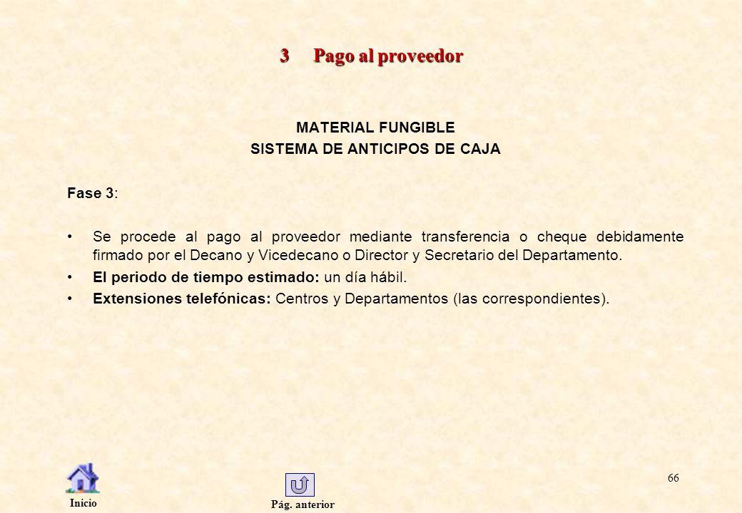 Pág. anterior Inicio 66 3 Pago al proveedor MATERIAL FUNGIBLE SISTEMA DE ANTICIPOS DE CAJA Fase 3: Se procede al pago al proveedor mediante transferen