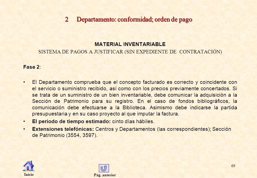 Pág. anterior Inicio 69 2 Departamento: conformidad; orden de pago MATERIAL INVENTARIABLE SISTEMA DE PAGOS A JUSTIFICAR (SIN EXPEDIENTE DE CONTRATACIÓ