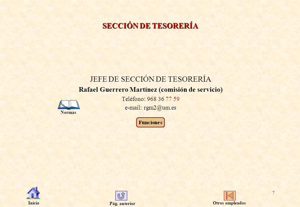 Pág. anterior Inicio 7 SECCIÓN DE TESORERÍA JEFE DE SECCIÓN DE TESORERÍA Rafael Guerrero Martínez (comisión de servicio) Teléfono: 968 36 77 59 e-mail
