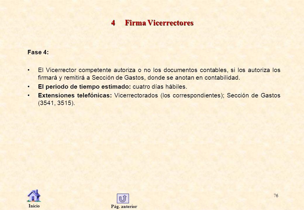 Pág. anterior Inicio 76 4 Firma Vicerrectores Fase 4: El Vicerrector competente autoriza o no los documentos contables, si los autoriza los firmará y