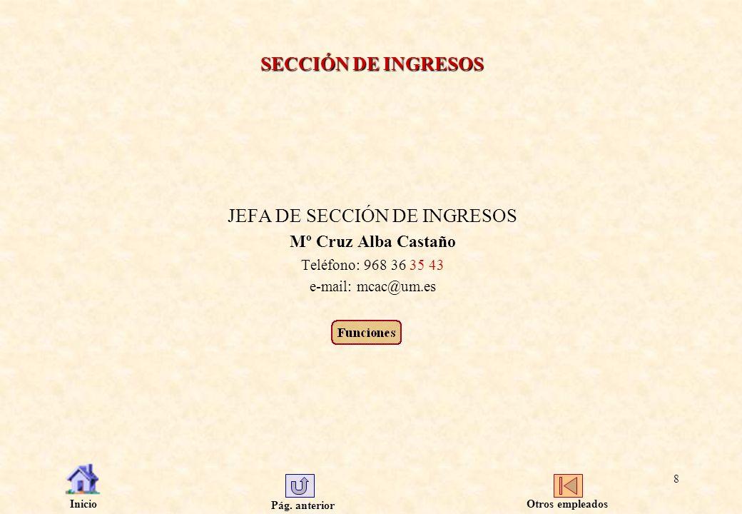 Pág. anterior Inicio 8 SECCIÓN DE INGRESOS JEFA DE SECCIÓN DE INGRESOS Mº Cruz Alba Castaño Teléfono: 968 36 35 43 e-mail: mcac@um.es Otros empleados