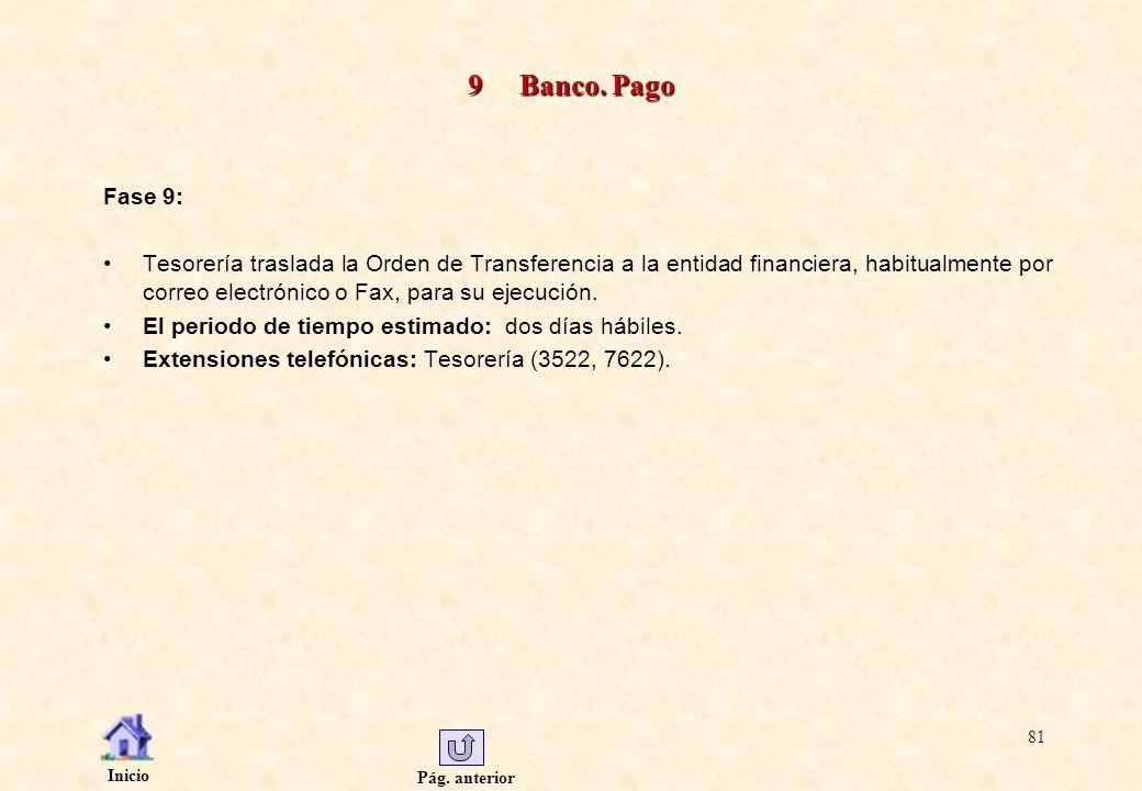 Pág. anterior Inicio 81 9 Banco. Pago Fase 9: Tesorería traslada la Orden de Transferencia a la entidad financiera, habitualmente por correo electróni