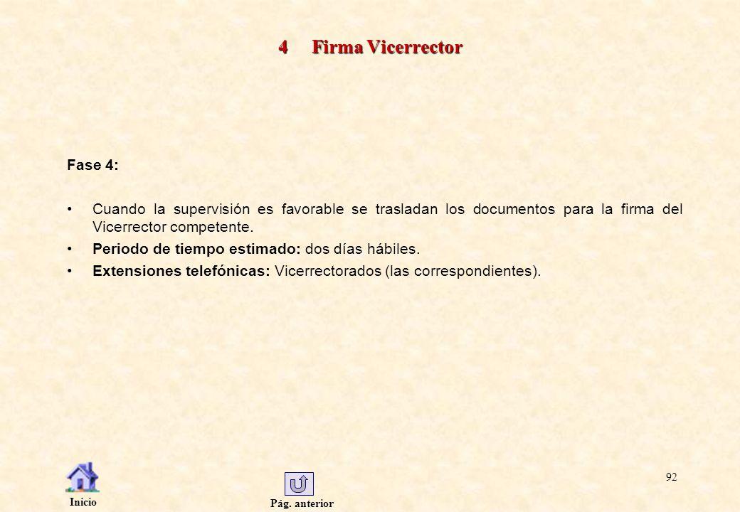 Pág. anterior Inicio 92 4 Firma Vicerrector Fase 4: Cuando la supervisión es favorable se trasladan los documentos para la firma del Vicerrector compe