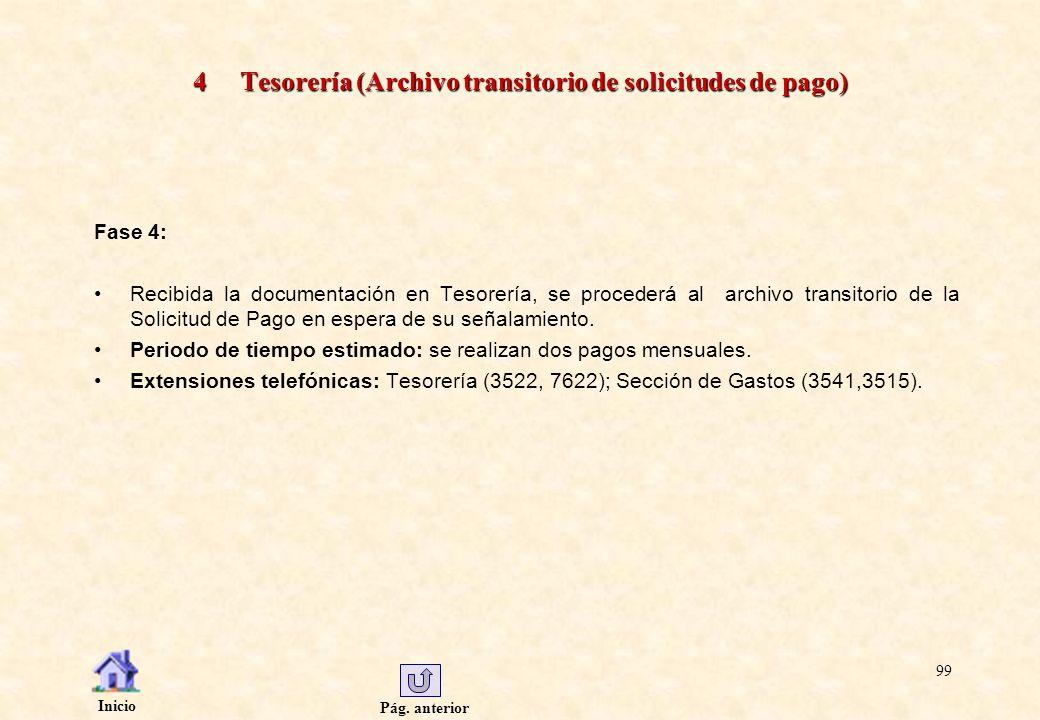 Pág. anterior Inicio 99 4 Tesorería (Archivo transitorio de solicitudes de pago) Fase 4: Recibida la documentación en Tesorería, se procederá al archi