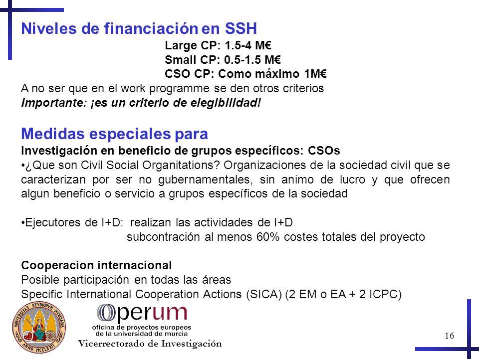 16 Vicerrectorado de Investigación Niveles de financiación en SSH Large CP: 1.5-4 M Small CP: 0.5-1.5 M CSO CP: Como máximo 1M A no ser que en el work programme se den otros criterios Importante: ¡es un criterio de elegibilidad.
