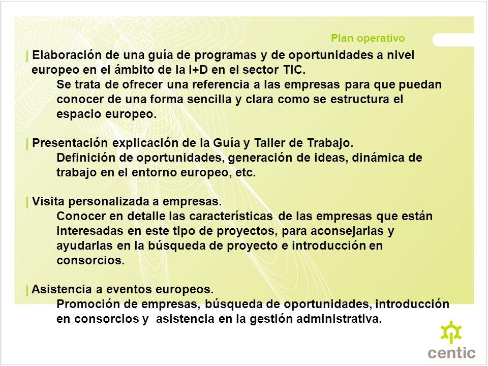 Plan operativo | Elaboración de una guía de programas y de oportunidades a nivel europeo en el ámbito de la I+D en el sector TIC.