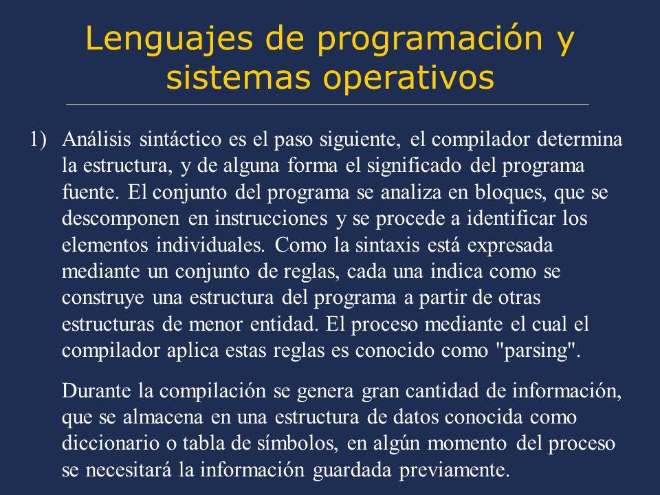 Lenguajes de programación y sistemas operativos 1)Análisis sintáctico es el paso siguiente, el compilador determina la estructura, y de alguna forma el significado del programa fuente.