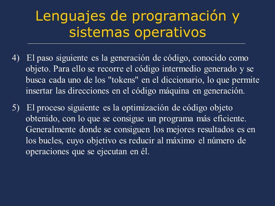 Lenguajes de programación y sistemas operativos 4) El paso siguiente es la generación de código, conocido como objeto.