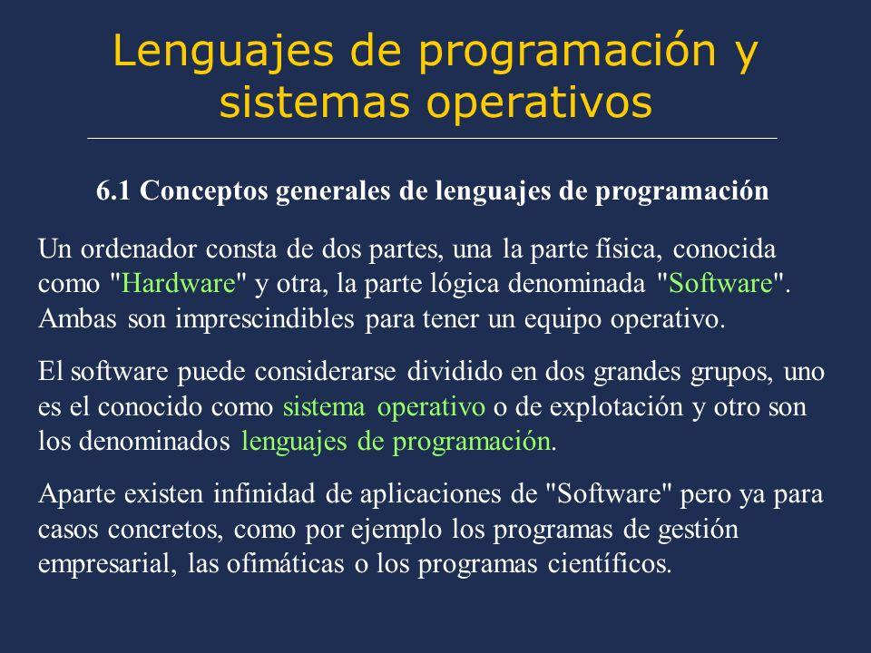 Lenguajes de programación y sistemas operativos 6.1 Conceptos generales de lenguajes de programación Un ordenador consta de dos partes, una la parte física, conocida como Hardware y otra, la parte lógica denominada Software .
