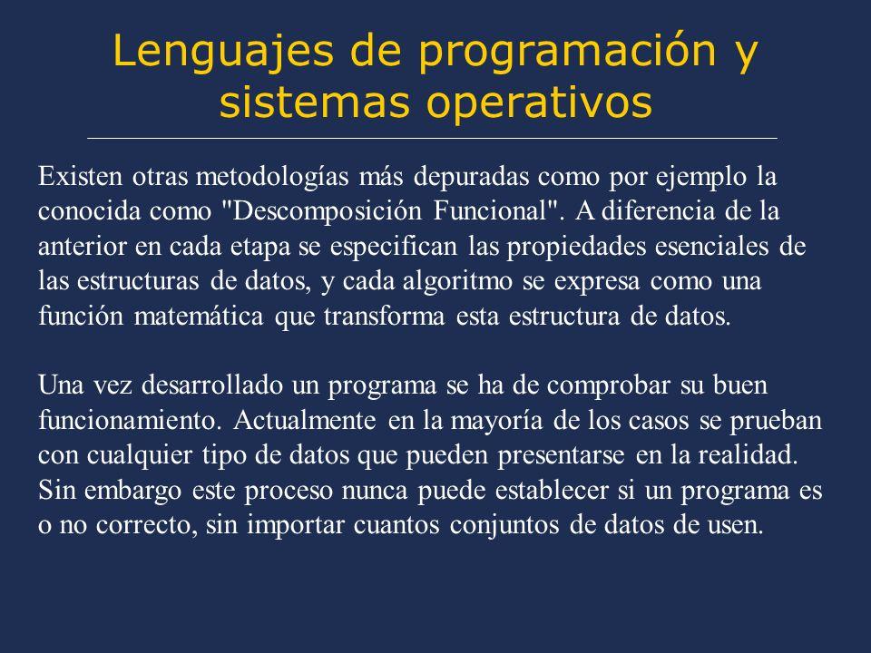 Lenguajes de programación y sistemas operativos Estas y otras presiones están provocando una reorganización de los métodos empleados en el desarrollo de los programas.