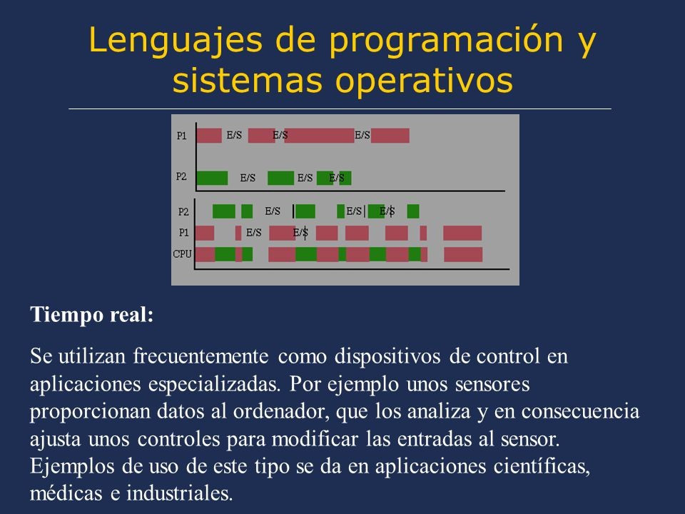 Lenguajes de programación y sistemas operativos Tiempo real: Se utilizan frecuentemente como dispositivos de control en aplicaciones especializadas.
