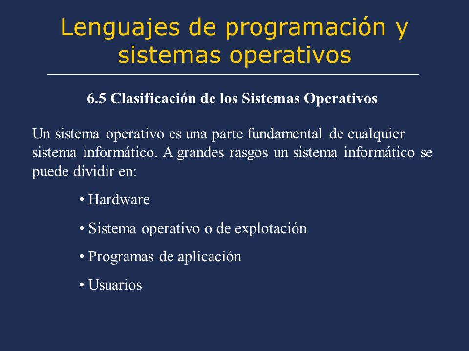 Lenguajes de programación y sistemas operativos 6.5 Clasificación de los Sistemas Operativos Un sistema operativo es una parte fundamental de cualquier sistema informático.