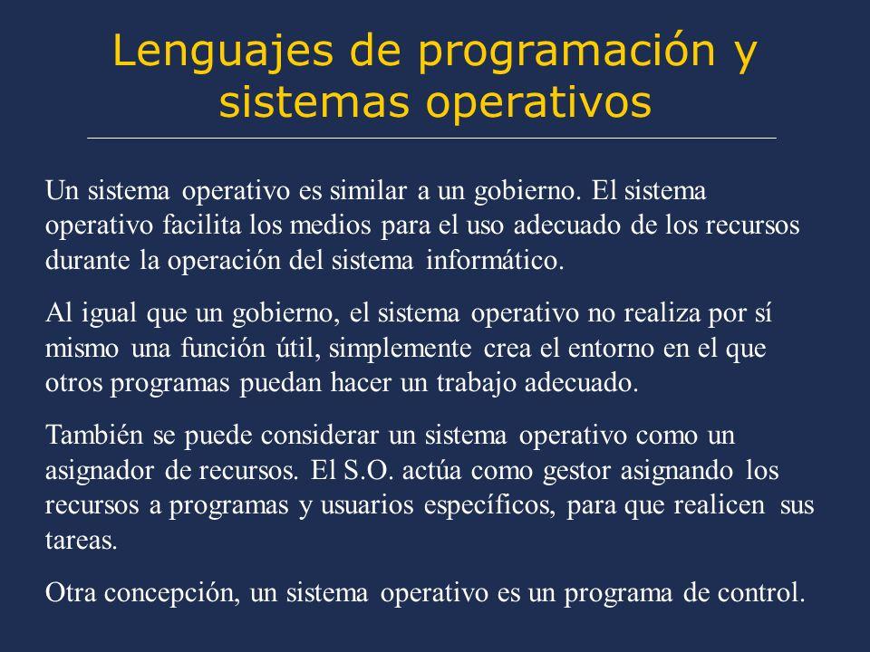 Lenguajes de programación y sistemas operativos Un sistema operativo es similar a un gobierno.