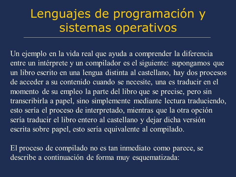 Lenguajes de programación y sistemas operativos A diferencia de los del grupo anterior, un lenguaje de alto nivel es independiente del microprocesador del ordenador que lo soporta, así por ejemplo un programa escrito en lenguaje C, se puede compilar sin modificar para cualquier máquina, y en principio funcionará sin ningún problema.