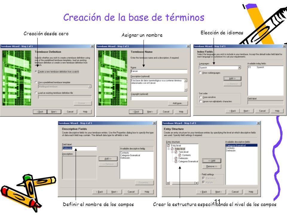 11 Creación de la base de términos Asignar un nombre Creación desde cero Elección de idiomas Definir el nombre de los camposCrear la estructura especi