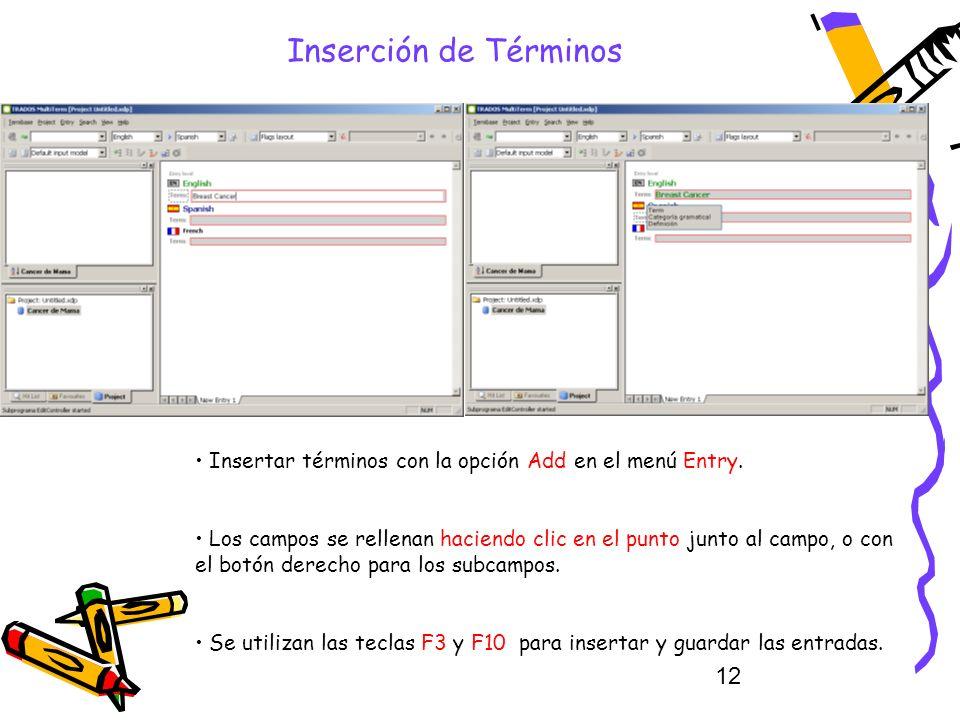 12 Inserción de Términos Insertar términos con la opción Add en el menú Entry. Los campos se rellenan haciendo clic en el punto junto al campo, o con